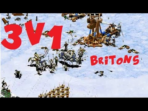 AoE2 Gameplay: 3v1 Live commentary