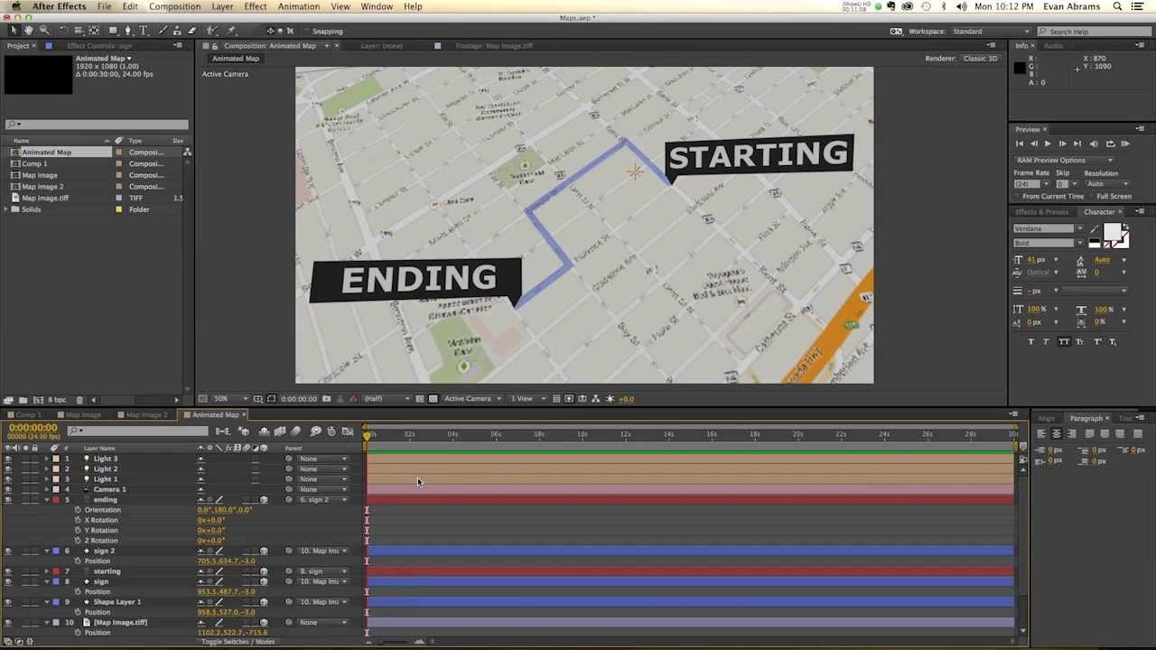 after effects tutorial  animated map