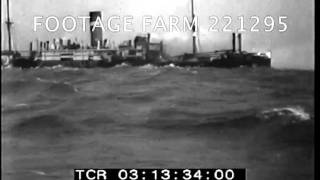Freighter on fire, low in water, ca1939  221295-04.mp4