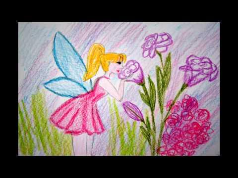 Fee mit Blumen malen zeichnen – to draw a fairy – Как нарисовать фею