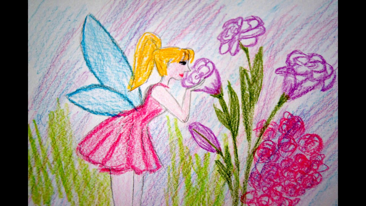 blumen fee zeichnen lernen rosa kleid malen how to draw fairy with flowers
