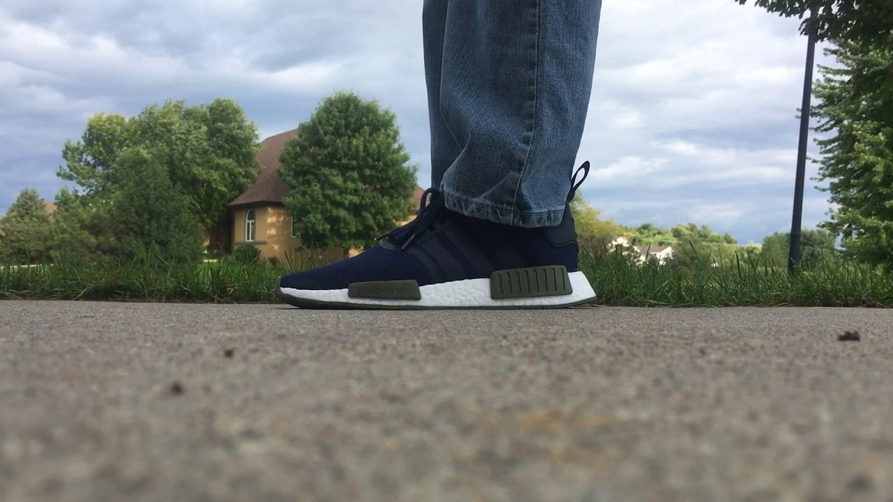 522f5c0f3dae Finish line nmd blue and green on foot - YouTube