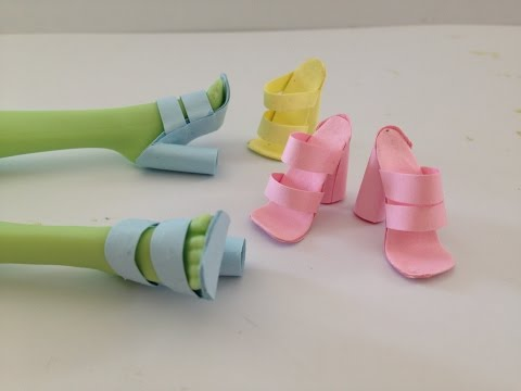 How to make Doll Shoes using Paper and Glue stick ALONE