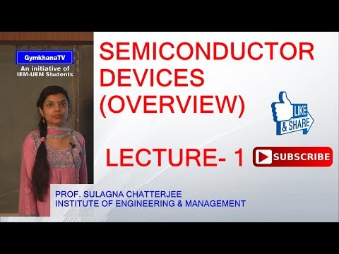 SEMICONDUCTOR DEVICES   LECTURE-1   PROF.SULAGNA CHATTERJEE   Gymkhana TV   IEM