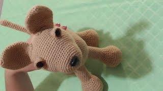 Игрушка крючком - собачка чихуахуа в сумке. Часть 2 (голова, уши, веки, сборка).