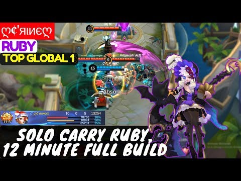 Solo Carry Ruby,12 Minute Full Build [ Top Global 1 Ruby ] ღ¢'яιиєღ Ruby Gameplay And Build