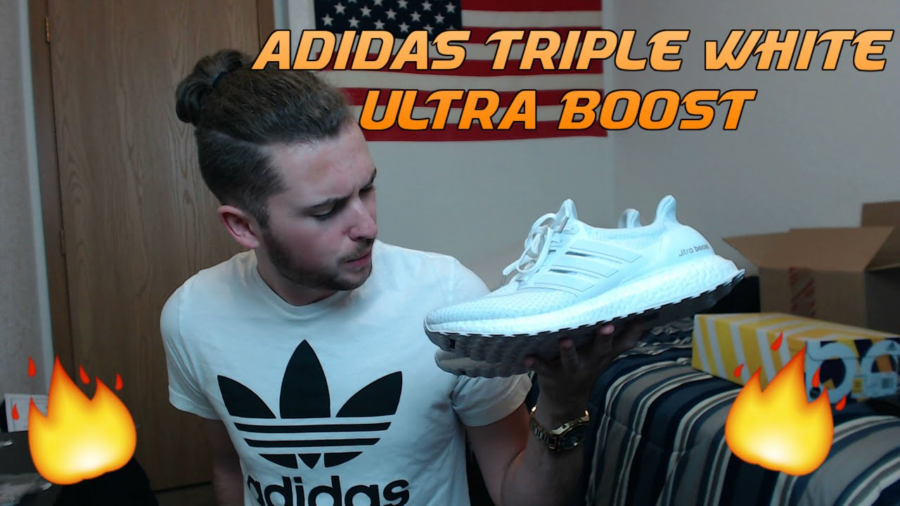 6576736187c Adidas Triple White Ultra Boost 2.0 Unboxing Review with On-Feet Look!