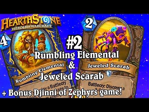 Rumbling Elemental & Jeweled Scarab ~ The League Of Explorers Adventure ~ Hearthstone Heroes Of Wa