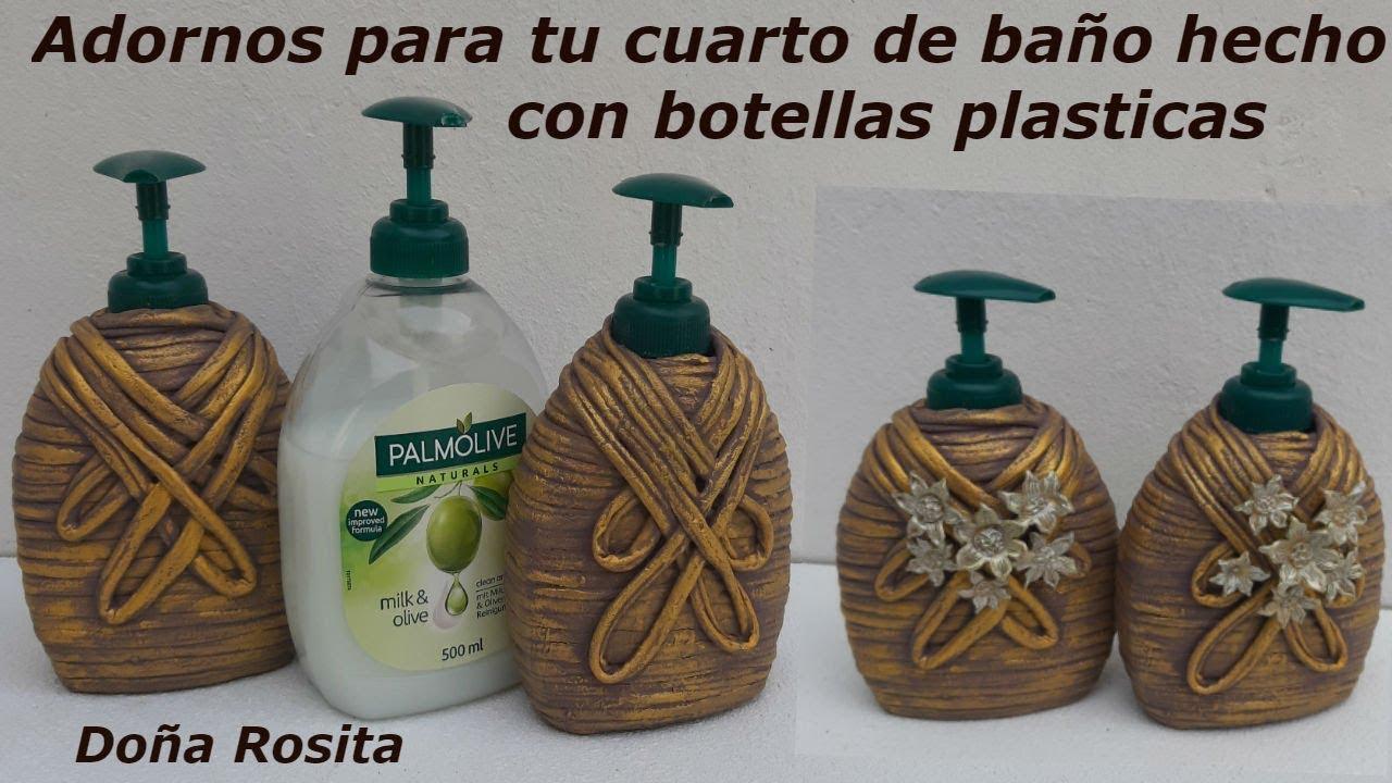 Manualidades faciles con reciclaje de botellas plasticas , adornos para  cuarto de baño