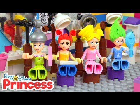 ♥ LEGO Disney Princess HAIR SALON Ariel, Cinderella, Belle New Haircut Stop Motion Cartoon for Kids