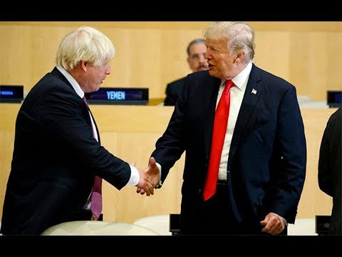 Boris Johnson and Donald Trump meet for first time in public