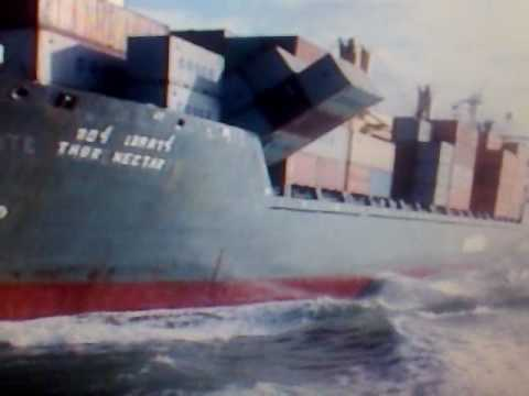 Ship entering Newcastle Harbour with containers about to fall over board