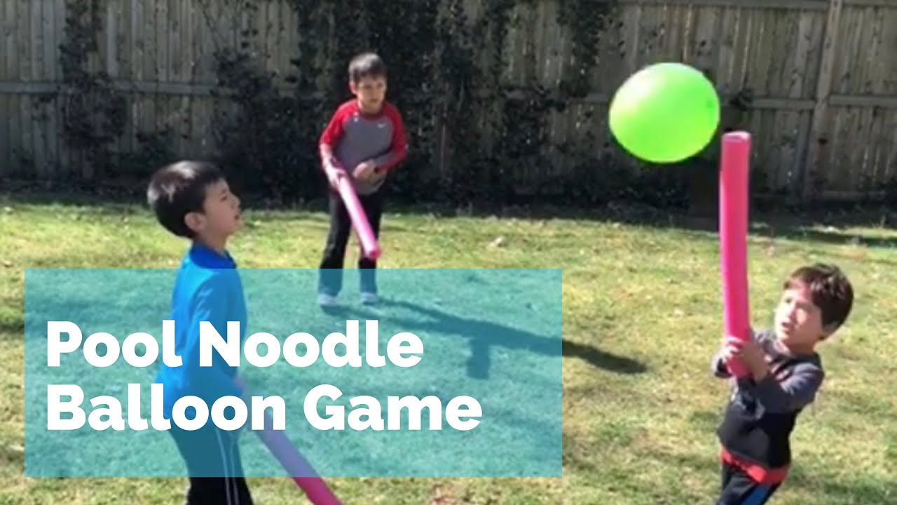 Pool Noodle Balloon Game - fun outdoor summer family activity - YouTube