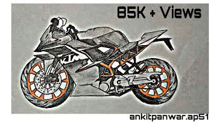 How to Draw a KTM RC 200 Sports Bike Step by Step