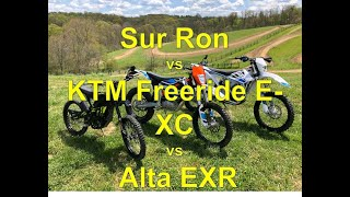 Sur Ron vs KTM Freeride E-XC vs Alta EXR: Off Road Electric Mobility!