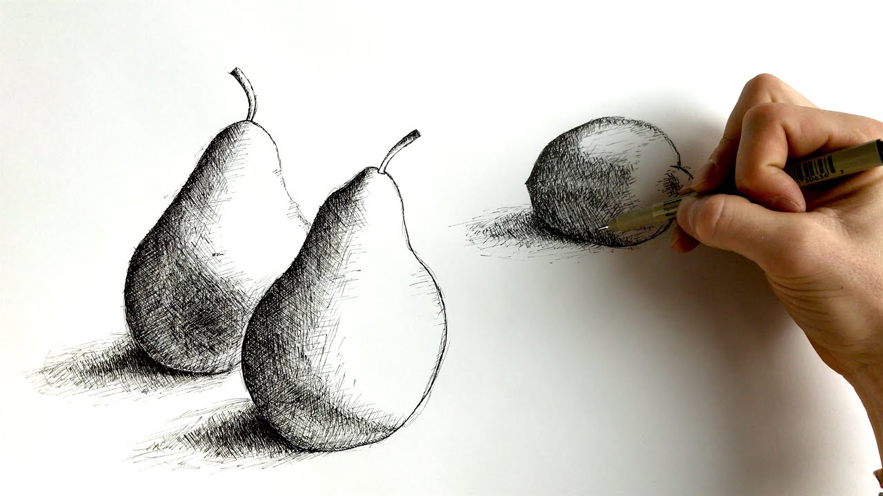 Pear & Lemon Still Life: An Exercise In Cross-Hatching (4K
