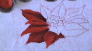 Como pintar a flor de natal, bico de papagaio – pintura em tecido