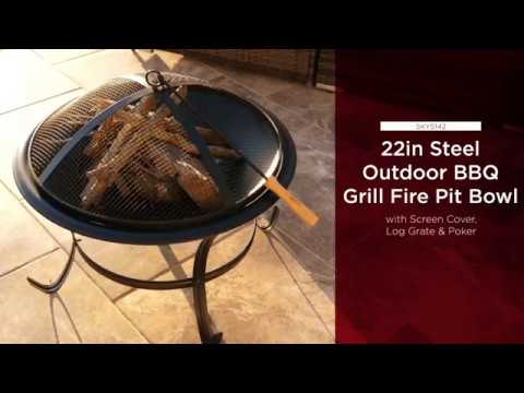 SKY5142 22in Steel Outdoor BBQ Grill Fire Pit Bowl