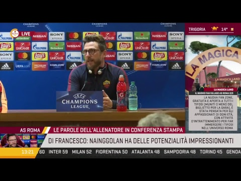 Roma-Barcellona: la conferenza di Eusebio Di Francesco e Radja Nainggolan