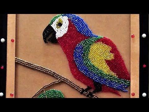 Macaw Crystal Beads Art work on Glass, DIY wall art piece Q&S Tube