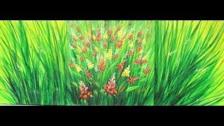 Como pintar um quadro com tintas acrílicas – ramos e flores