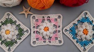 Popcorn çiçekli kare motif örneği yapımı / yeni motif modelleri