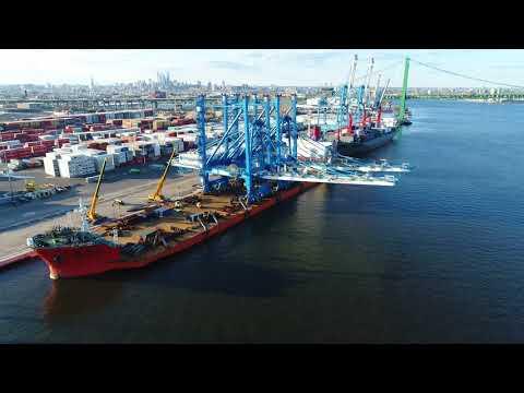 Aerial Drone Video of Heavy Load Ship Zhen Hua 16 Delaware River Philadelphia
