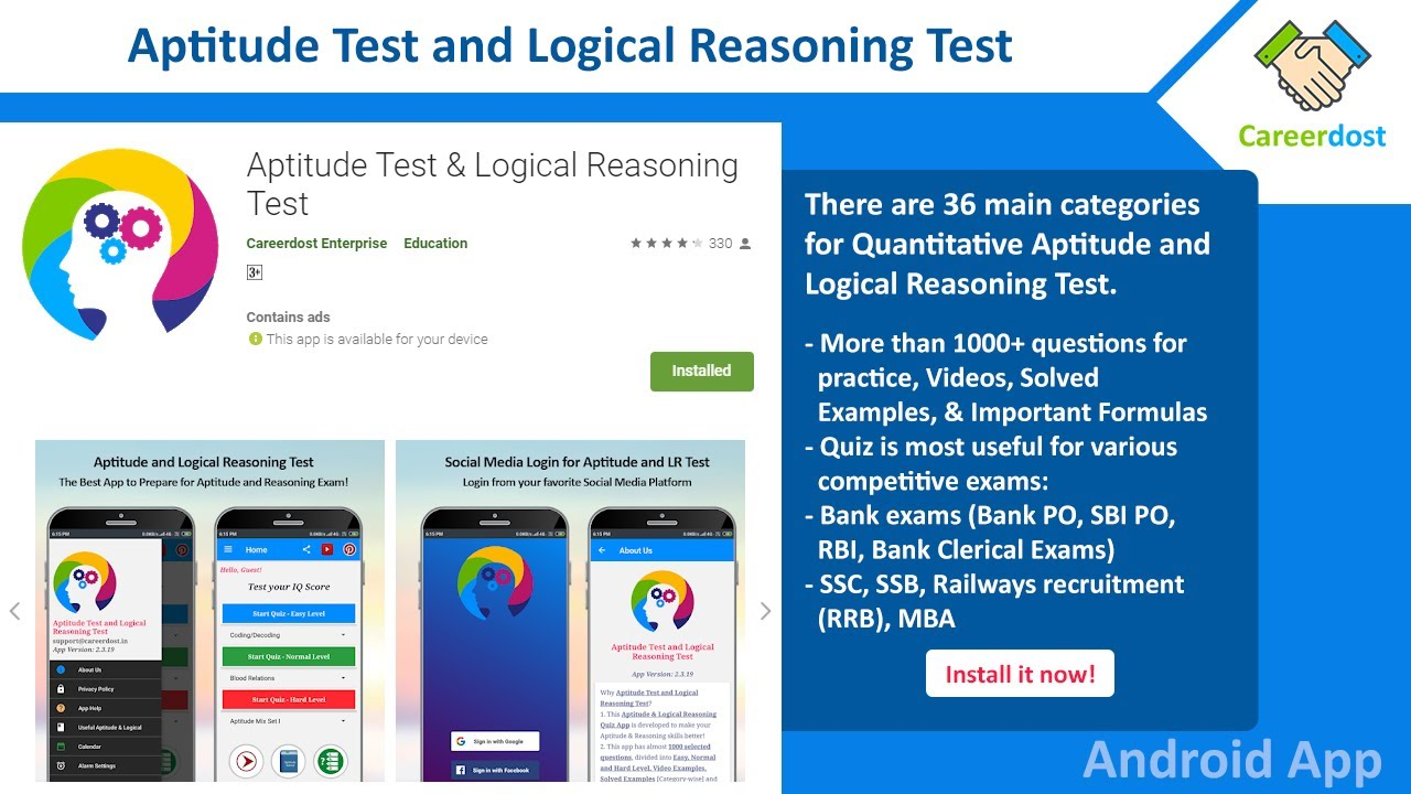 Quantitative Aptitude Test & Logical Reasoning Test - Download our Free Android App - YouTube