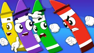 Five Little Crayons | Nursery Rhymes For Kids | Learn Colors | Songs For Childrens