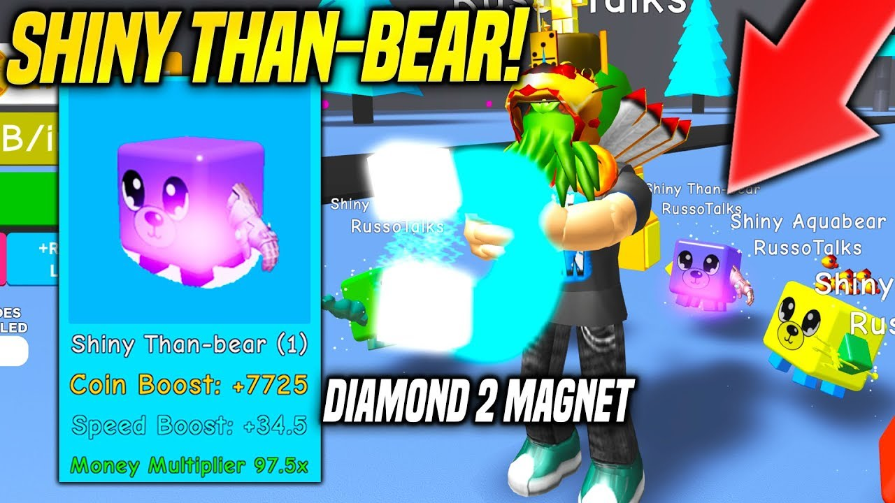 SHINY THANOS BEAR PET AND BEST REBIRTH MAGNET IN MAGNET SIMULATOR!! (Roblox)