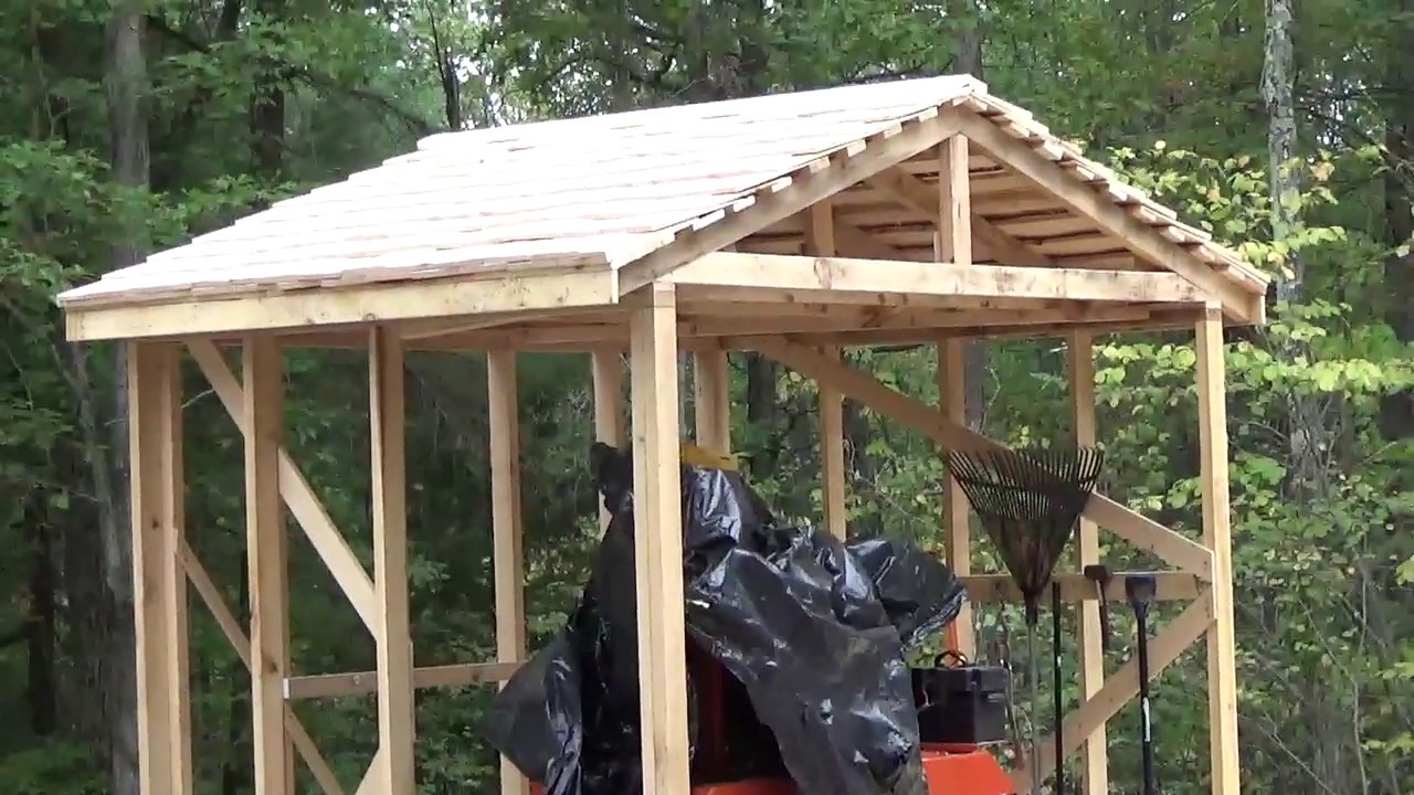 Eastern White Pine shingled roof for woodmizer storage