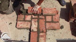 Кирпичная кладка примыкания стены в 1 кирпич к стене в 1,5 кирпича - [masterkladki](Мой второй канал Вова Полтавский - https://www.youtube.com/user/TheBlogLS Видео-курс: