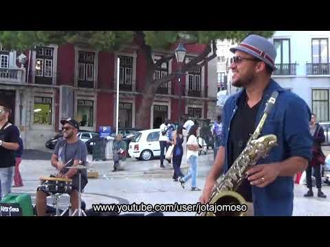 Street music band amazing performance, Lisbon 2017.