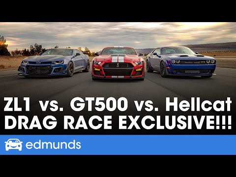 Ford Mustang Shelby GT500 vs. Dodge Challenger Hellcat Redeye vs. Chevy Camaro ZL1 1LE – Drag Race