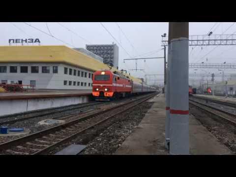 """ЭП2К-082 с фирменным скорым поездом 109/110 """"Дневной экспресс"""" Пенза - Самара"""
