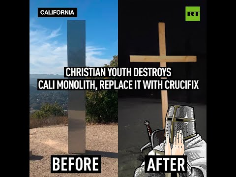 'Christ is King' | Christian youth destroys Cali monolith, replace it with crucifix