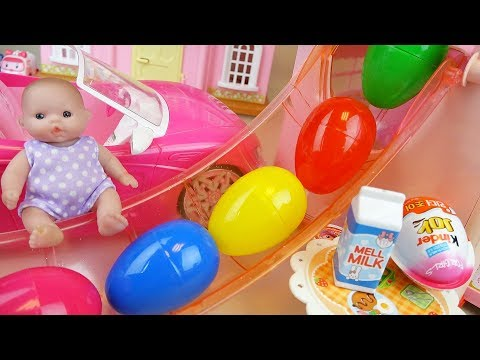 Thumbnail: Surprise eggs slide Baby doll house and kinder joy, car toys play
