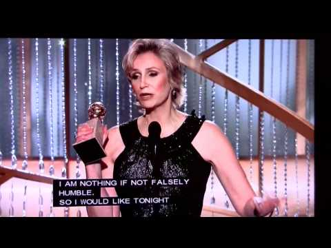 JANE LYNCH of GLEE wins Golden Globe Award at The 68th Globe Awards on January 16, 2011