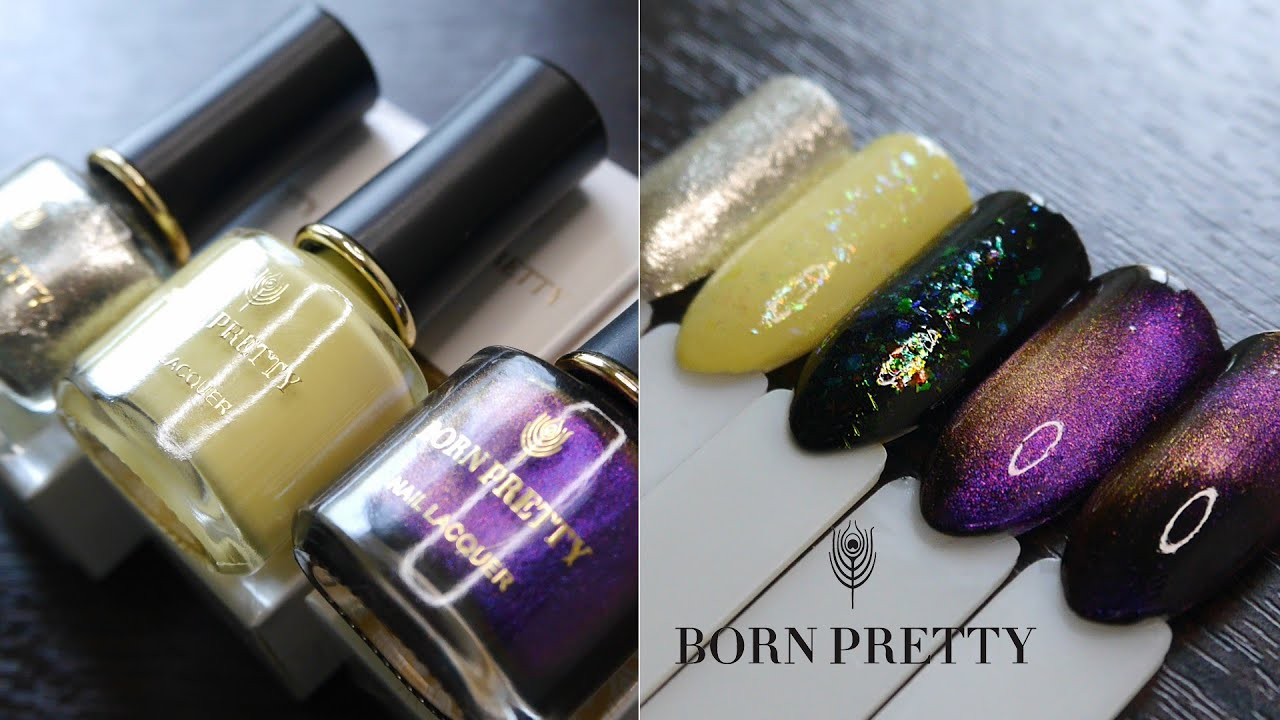 BORN PRETTY//Обзор лаков Peel off,  Cat eye 9D, хлопья юки