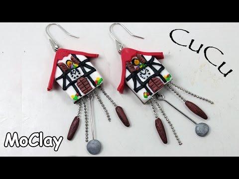 DIY miniature cuckoo clock - Polymer clay tutorial - Earrings