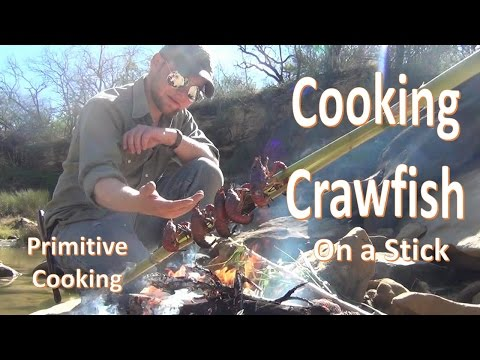 Cooking Crawfish With A Stick (Primitive)