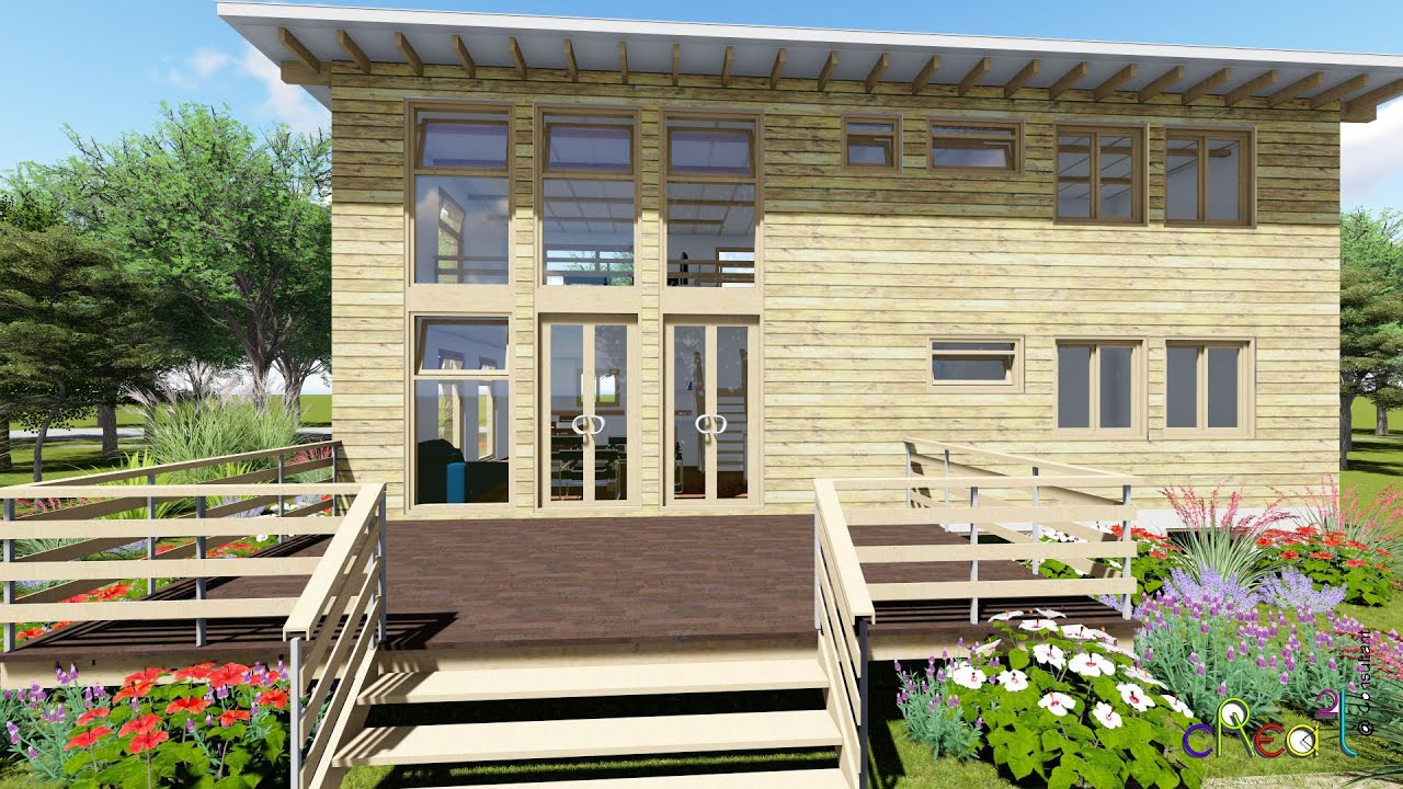 Visite virtuelle Maison Bois contemporaine et mezzanine ...