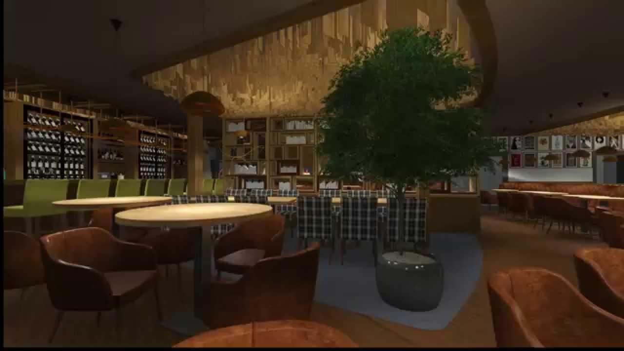 D interior design hugo restaurant and club presentation