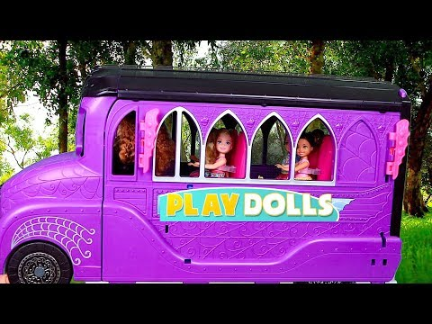 Barbie Girl Dolls School Bus Morning Routine!