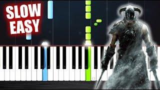 Skyrim Theme - SLOW EASY Piano Tutorial by PlutaX