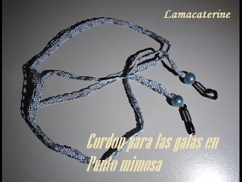 b78376653a Encaje de bolillos: Como hacer un cordón para las gafas en punto mimosa
