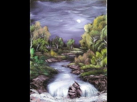 "Landscape Oil Painting Tutorial – ""Moonlit Wonder "" (STEP BY STEP)"