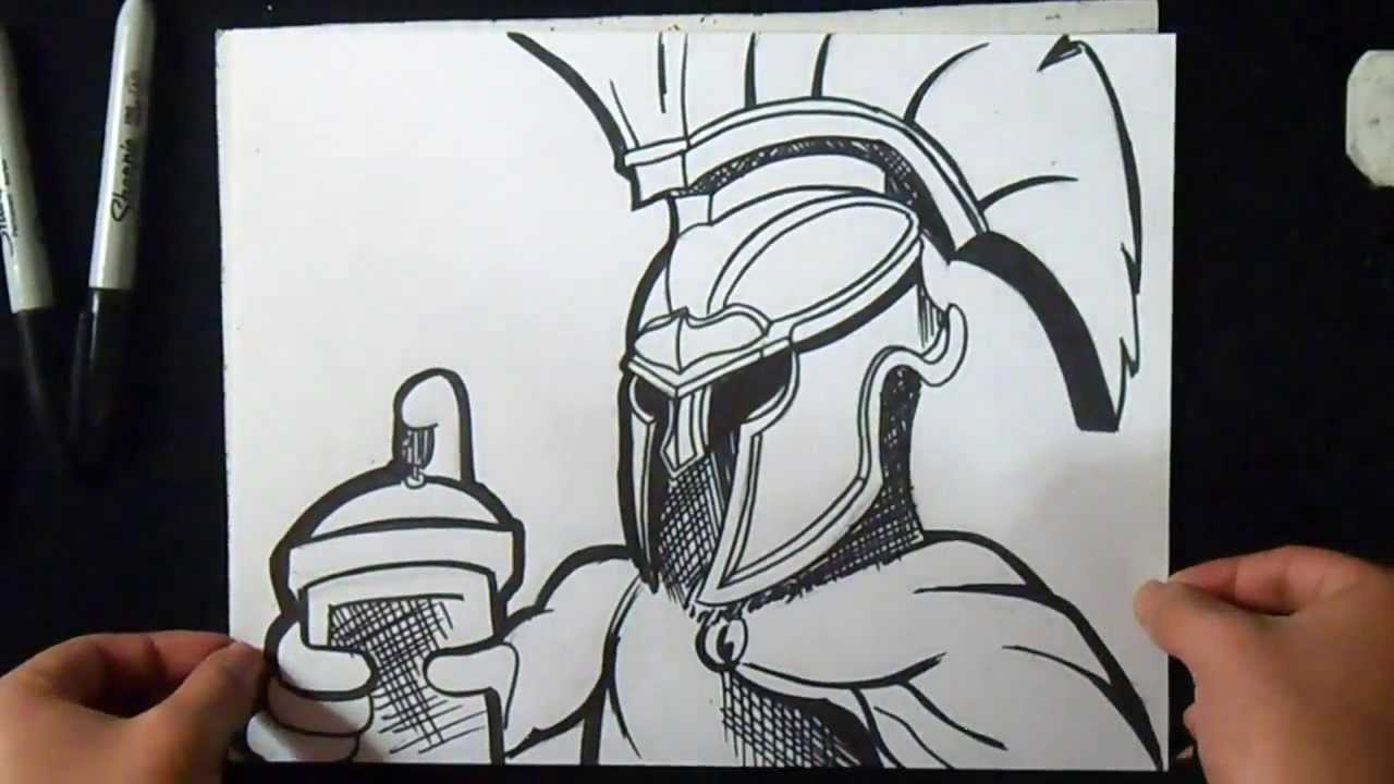 Cmo dibujar un Espartano Graffiti  YouTube