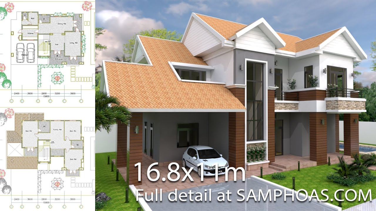 Villa design idea home plan size 16m8 x 11m