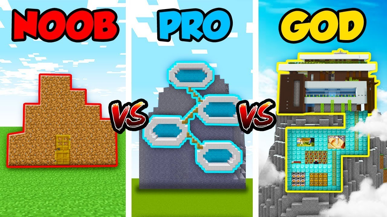 Minecraft Noob Vs Pro Vs God Mountain House Challenge In Minecraft Animation Youtube
